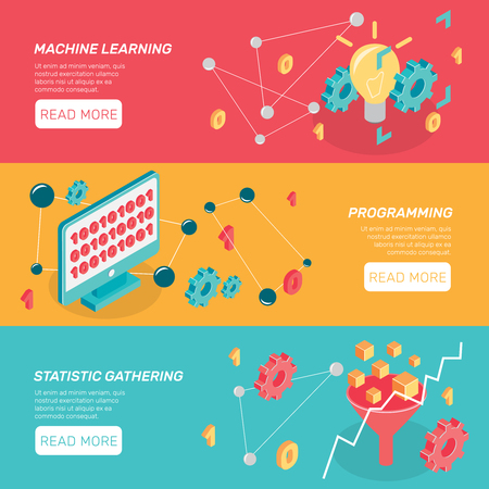 Set of three horizontal machine learning isometric banners with conceptual icons text and read more button