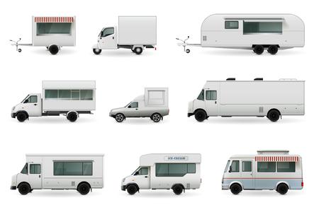 Camions de nourriture collection réaliste de photos d & # 39 ; automobiles isolé avec des camions de voiture et de la conception de corps de voiture différente Banque d'images - 88313806