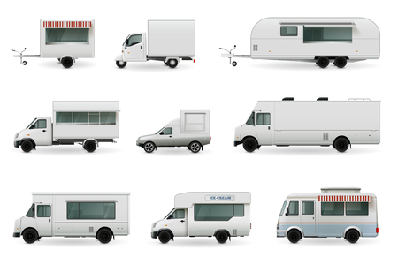 Food trucks realistic collection of isolated automobile images with trailer trucks and different car body design Illustration