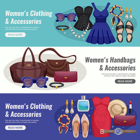 Three colored women accessories horizontal banner set with different types of cloth and accessories and read more buttons