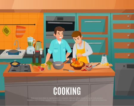 Man taking part in cooking talk show cartoon vector illustration Illustration