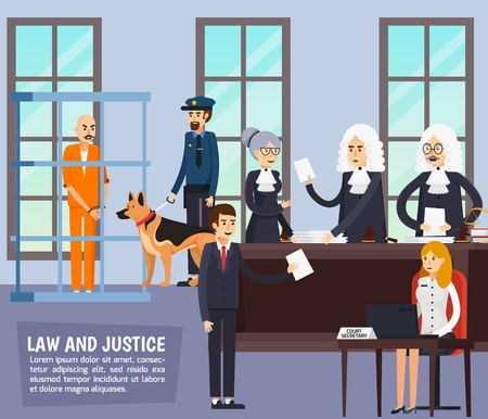 Courtroom orthogonal composition with judge, lawyers with documents, secretary, policeman and suspected in jail flat Illustration