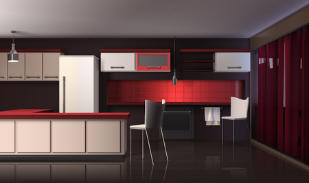 Modern kitchen interior realistic design composition with black red and white shelves fridge with designer furniture vector illustration