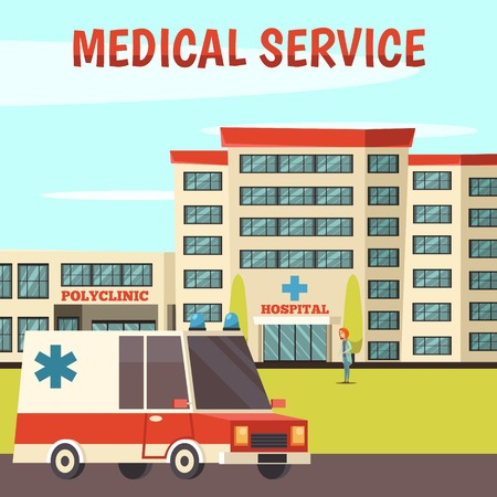 Colored orthogonal municipal buildings background with medical services polyclinic and hospital descriptions vector illustration