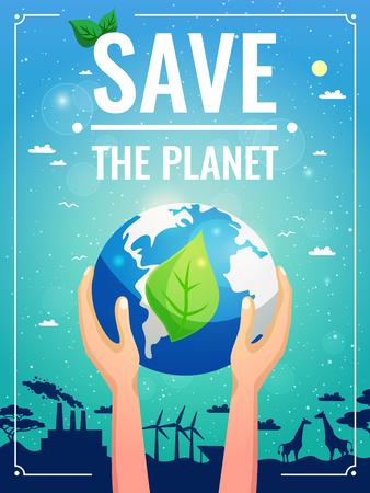 惑星惑星見出しのベクトル図を付けて手でエコロジー カラー ポスター