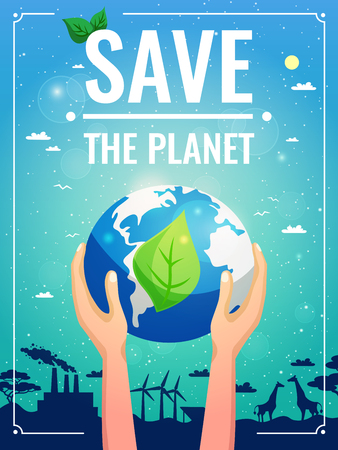 Ecology colored poster with planet in the hands and save the planet headline vector illustration
