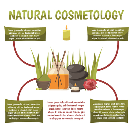 Natural cosmetology infographics layout with text information about stone therapy and comprehensive spa programs flat vector illustration