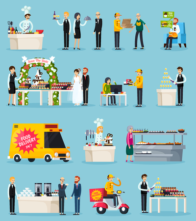 A Catering set of orthogonal flat icons with chef and waiters, food delivery, events, canteen isolated vector illustration