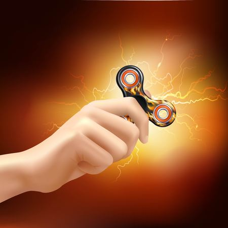 Fidget finger spinner device with fiery lighting effects and soft glowing realistic illustration.