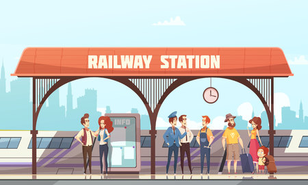 Ilustración de vector plano estación ferroviaria con pasajeros y viajeros esperando tren en plataforma ferroviaria Foto de archivo - 88233127