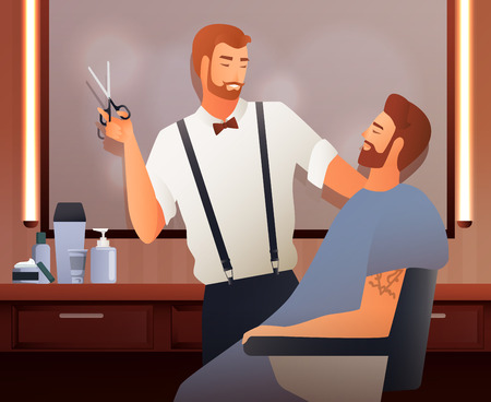 Hairdresser stylist barber gradient flat people composition with two human characters in barbershop interior with shadows vector illustration Illustration