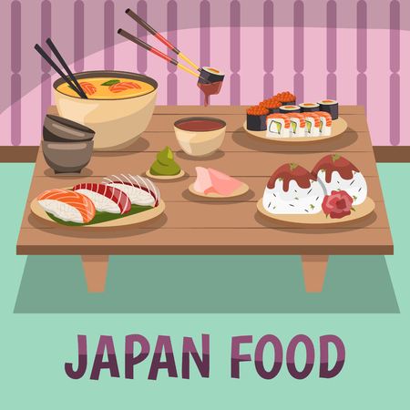 Traditional food design template poster with  chopsticks illustration. Illustration