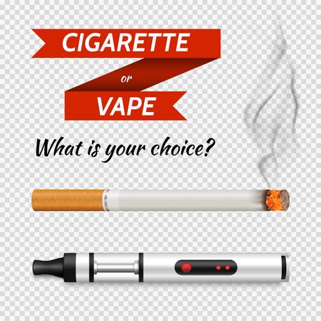 현실적인 전자 담배 및 전통적인 담배 세트.