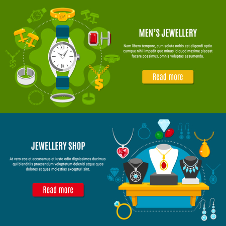 Set of horizontal banners with mens accessories and showcase of shop with female accessories design, illustration.