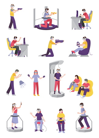 Gamers people avatar set of characters with leisure-time entertainment facilities and gaming accessories design, illustration.