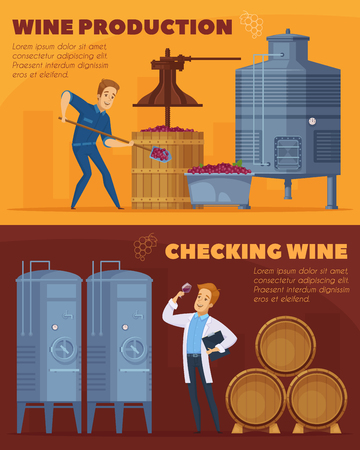 Wine production facility, cartoon horizontal banners set design template, illustration. Illustration