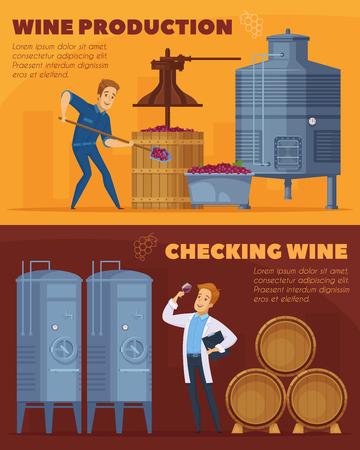 Wine production facility, cartoon horizontal banners set design template, illustration. Illustration
