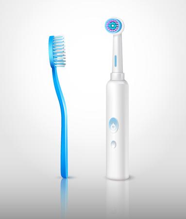 Realistische reeks van het ontwerpmalplaatje van twee klassieke en elektrische tandenborstels, illustratie. Stockfoto - 88243423