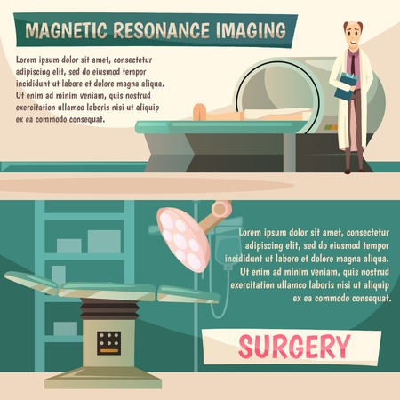 Defeat cancer, orthogonal informative banners set with magnetic resonance imaging mri surgery, design template, illustration.