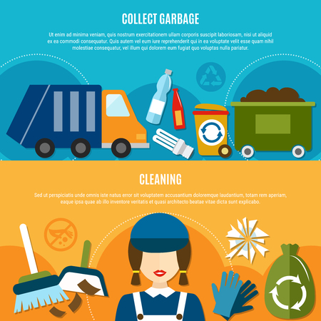 Garbage horizontal banners set with doodle style images of sanitation truck recycle bins and cleaning equipment.