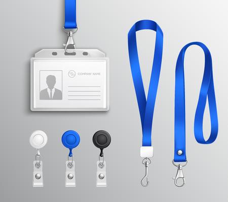 Tarjeta de identificación de empleados y titulares de insignias con cordones azules y clips de correa plantillas realistas conjunto ilustración.