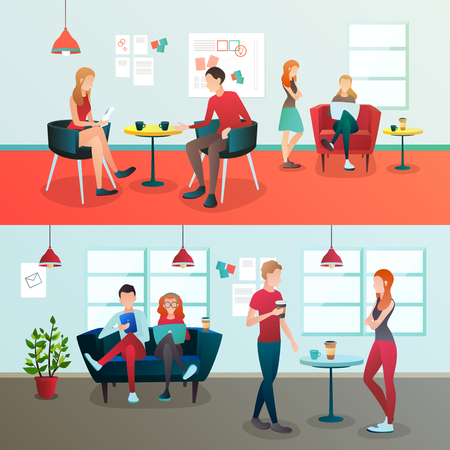 Creative team coworking people gradient compositions with doodle style avatar characters  illustration. Illustration