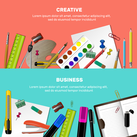 Two horizontal colored cartoon stationery banner set with creative and business descriptions design template, illustration.