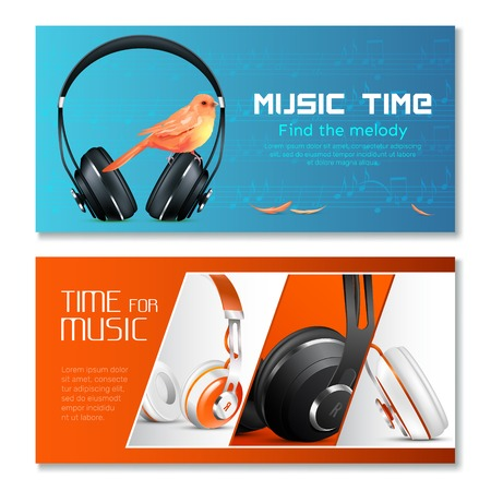 Realistic headphones horizontal banners with canary bird, music notes on blue and red isolated illustration.