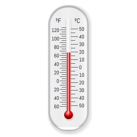 Classic outdoor and indoor celsius fahrenheit alcohol ethanol red dye thermometer design, illustration.