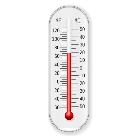 Conception de thermomètre à colorant rouge alcool éthanol celsius fahrenheit extérieur et intérieur classique, illustration.