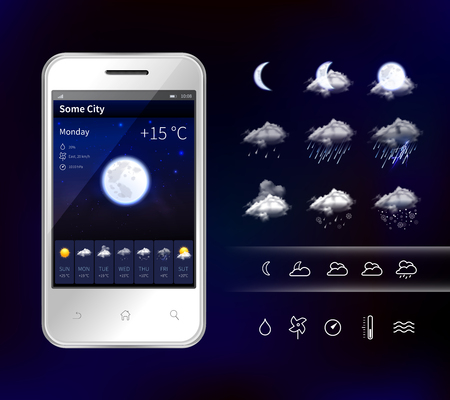 Mobile phone weather app widgets design, illustration. Ilustração