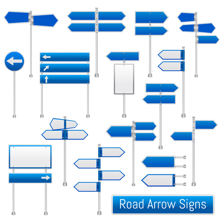 Blue arrow road signs realistic traffic regulation road signs collection design template, illustration.