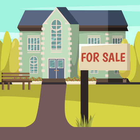 Colored autumn design with rural living house offered for sale with signpost in front  illustration.