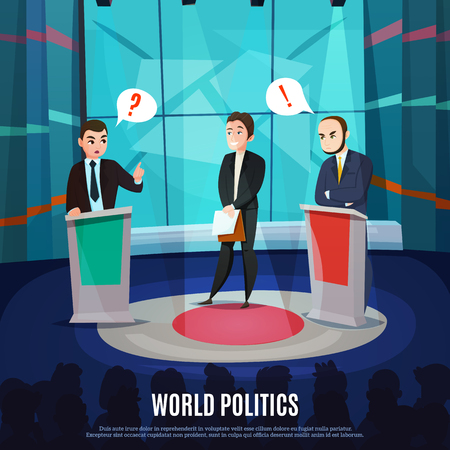 Two men in costumes discussing political questions in world politics talk show cartoon.