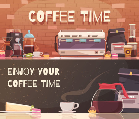 Coffee time two horizontal banners with automatic and manual equipment design template, illustration. Vettoriali