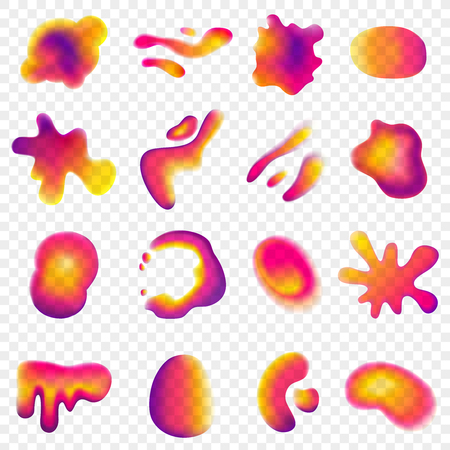 Abstract vibrant gradient design elements of various color set isolated on transparent.