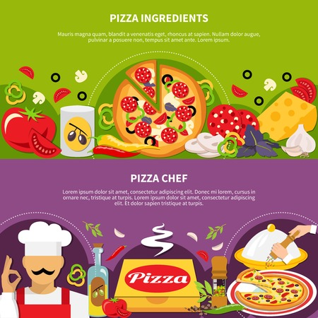 Pizza horizontal banners set design template, illustration.