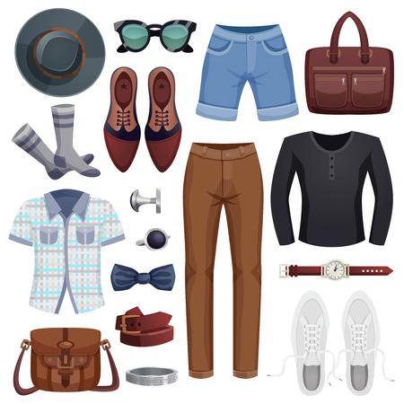 スタイリッシュな男のデザイン、イラストに服やアクセサリーでセットされた色付きの男性アクセサリー アイコン。