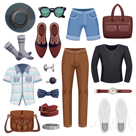 Colored men accessories icon set with clothes and accessories for stylish man design, illustration.
