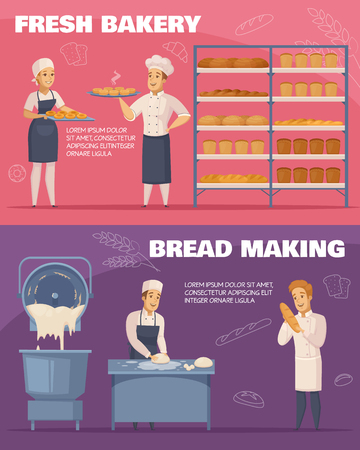 Horizontal cartoon banners on pink and purple design template, with fresh bakery and bread making illustration.