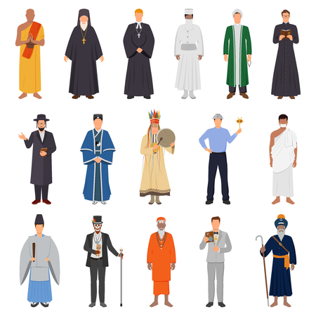 Set of people in traditional costume from world religions.