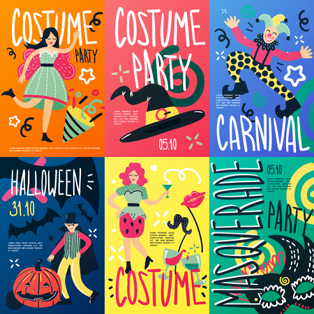 Costume party doodle placards collection of vertical drawn cartoon style compositions of decorations people and text illustration.