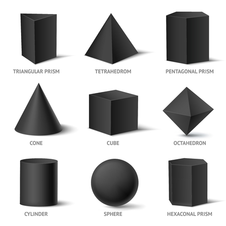 Realistic geometric shapes black set with isolated three-dimensional geometric objects design, illustration.