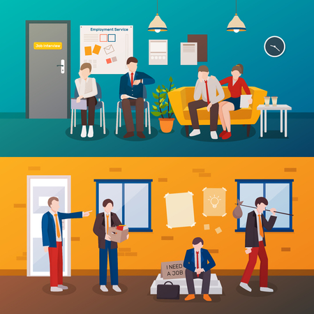 Set of two horizontal unemployed people flat compositions with human characters in interviewing room and outdoors. Illustration