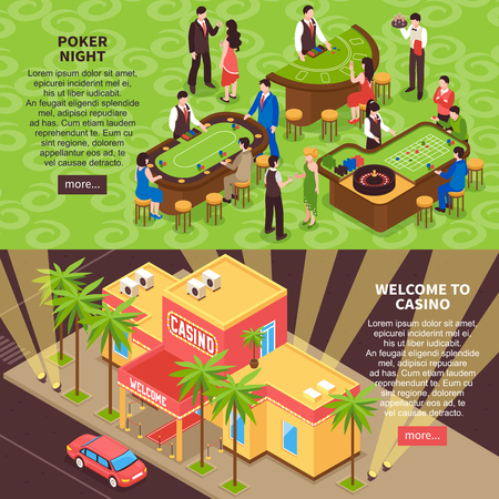 Poker night and welcome to casino horizontal banners with gaming room interior people and casino building isometric elements.