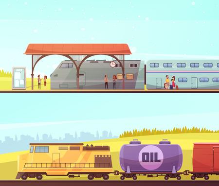 철도 승객과 두 개의 수평 배너 기차역 사람들과 오일 탱크와화물 열차.