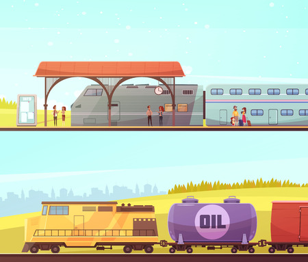 Railway two horizontal banners with passenger train people on station and freight train with oil tank.