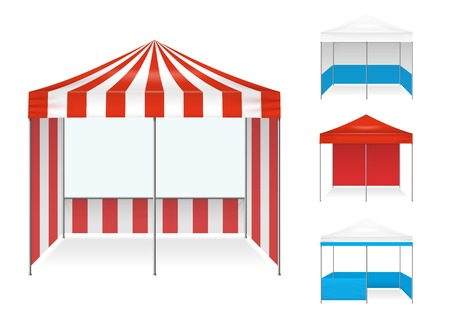 Realistic tent color set of isolated stall type canvas images with different colour scheme.