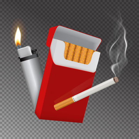 Realistic burning cigarette with smoke, red carton pack, lighter with flame, composition on transparent.