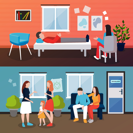 Psychologist counseling people compositions of patient and couch doctor human characters in living room interior environment. Illustration